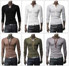 New Korean Men's Collarless T-Shirt Long Sleeve Boys Slim Fitted Fashion Hot #Unbranded #Henley