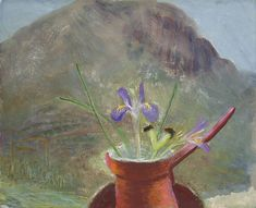 Winifred Nicholson Blue Iris 1969 x 50 cm) Winifred Nicholson, William Nicholson, Art And Illustration, Illustrations, Still Life Artists, Pear Blossom, Mycenae, Irish Art, London Art