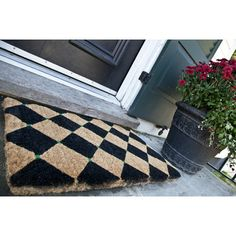 Entryways Handmade Extra Thick Black Diamonds Doormat   Checkerboard Pattern  Checkerboard Pattern, Coir Doormat,