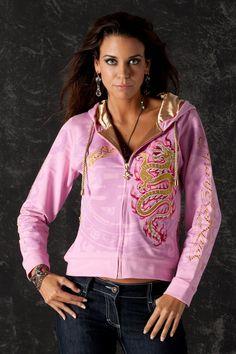 Golden Dragon Women Hoodie Jacket Pink by CharlesKingParis on Etsy Hoodie Jacket, Hoody, Dragon Hoodie, Unique Hoodies, Rock Outfits, Embroidered Jacket, Sporty Chic, Glam Rock