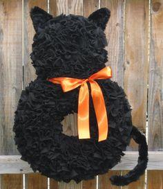 Halloween Wreath - Fall Wreath - Orange and Black Wreath - Cat Wreath - Fleece…