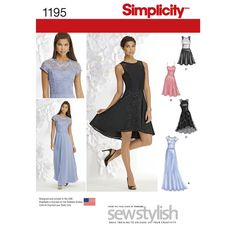 Simplicity 1195 Misses and Miss Petite Special Occasion Dress Misses' Sew Stylish dress can be made floor length with bodice and skirt overlays, knee length with straps, and sleeveless about the knee or high low with contrast yoke and skirt overlay. Formal Dress Patterns, Wedding Dress Patterns, Dress Sewing Patterns, Clothing Patterns, Dress Wedding, Fabric Sewing, Pattern Sewing, Blue Wedding, Evening Gown Pattern