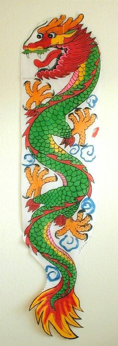 Large Green Flat Nylon Chinese Dragon Kite with Fly Kit | eBay