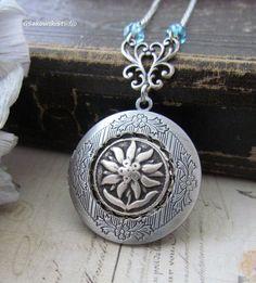 Antique Silver Matte Edelweiss Locket Necklace by gsakowskistudio, $25.00