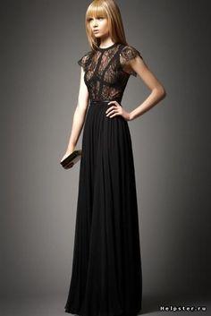 Купить черное длинное прозрачное платье