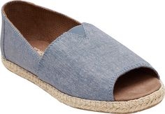 Women's TOMS Open Toe Alpargata - Blue Slub Chambray with FREE Shipping & Exchanges. Add an airy touch to your outfit with the TOMS Open Toe Alpargata. Its breezy design and espadrille