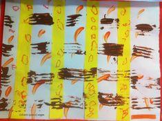geste graphique : peinture au doigt + alignement de bandelettes de papier + empreinte à la fourchette + graphisme de ronds