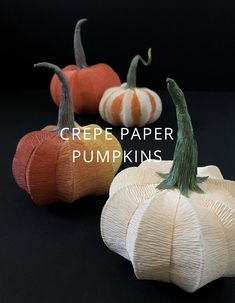 Paper Pumpkin DIY Learn how to make a crepe paper pumpkin for Halloween or just for the fall decor. Diy Paper, Paper Crafts, Diy Crafts, Felt Crafts, Tissue Paper, Diy Pumpkin, Paper Pumpkin, Merida, Crepe Paper Flowers