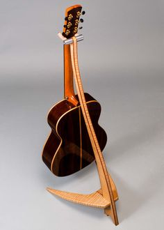 WM Guitar Stand in Curly Maple with Bubinga Binding Guitar Storage, Guitar Display, Wooden Guitar Stand, Woodworking At Home, Guitar Hanger, Music Stand, Stand Design, Fine Furniture, Joinery