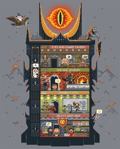 LoTR as a video game: Tiny Dark Tower tee from Woot Tolkien, Pixel Art, League Of Legends, Tower Games, Street Art, Pokemon, Gifs, Over The Moon, Middle Earth