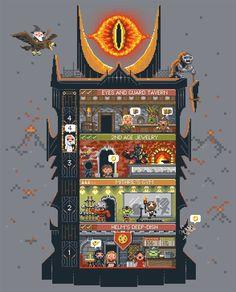 LoTR as a video game: Tiny Dark Tower tee from Woot Tolkien, Pixel Art, League Of Legends, Street Art, 8 Bit Art, Pokemon, Gifs, Middle Earth, Lotr