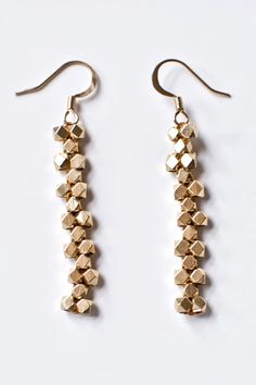 "DIY brass earrings using ""Flat, Odd-Count Peyote Stitch"" from Transient Expression"