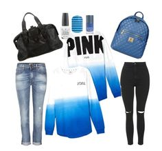 """""""casual tuesday"""" by jjbear on Polyvore featuring True Religion, Topshop, Victoria's Secret, Versace, Love Moschino and OPI"""