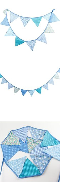 [Visit to Buy] Triangle Pennant Garland Banner Cotton Fabric Party Flags for Birthdays Event Supplies Festivals Parties Decoration (Blue) #Advertisement