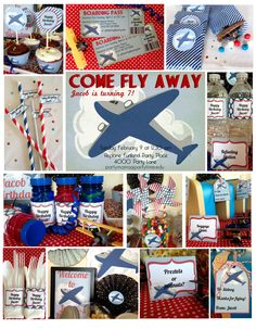 Airplane Birthday Party Printable Set & by DecoPartyPrintables