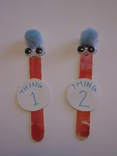 Thing 1 and Thing 2 Popsicle stick puppets for Dr. Seuss day