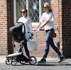 Stepping out: Alex Gerrard made her first public appearance with newborn son Lio George on Friday afternoon, just days after confirming his birth across social media Alex Gerrard, Steven Gerrard, Post Pregnancy, Family Photos, Baby Strollers, Sons, Skinny Jeans, Yummy Mummy, Casual