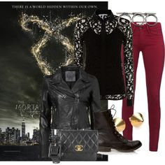 """The Mortal Instruments - Shadow Hunter"" by redhairdontcare on Polyvore  This is my take on a more stylish and wearable look for the shadowhunters, and I also steered away from the typical black on black. Its pretty simple, and really practical The lace represents their rune tattoos, and the whole see through thing adds a little bit of a sexy edge, thich their into. I also added a fanny pack instead of a purse, for even more practicality"