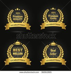 Vector badge collection. Premium quality guaranteed golden label, Best seller golden label. Vector illustration. - stock vector