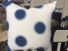 DOT DECO Les Indiennes Pillow Cover in Indigo Blue and White Dot Handmade Organic Cotton, White Woven Backing