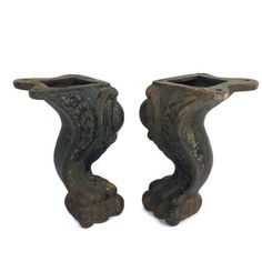 Claw Feet, Pair Of Cast Iron Legs, Bookends, Door Stopper, Natural Patina, Industrial Decor, Victorian Claw Feet, Ornate Bookends