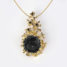 CORAL Gold Black Onyx Pendant Necklace Black Onyx Necklace