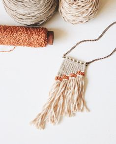woven necklace in peach // fiber necklace // mini by FibrousATX