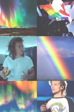Imagem de louis tomlinson, Harry Styles, and rainbow