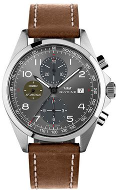 Glycine Watch Combat Chronograph #bezel-fixed #bracelet-strap-leather…