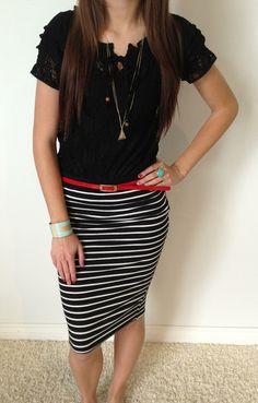 Never Enough Stripes Skirt