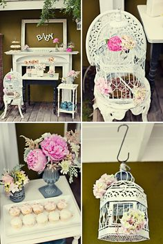 vintage baby shower - Ideas ( finding one or two birds cages) Shower Party, Baby Shower Parties, Baby Shower Themes, Bridal Shower, Shower Ideas, Baby Showers, Baby Shower Elegante, Shabby Chic Baby Shower, Vintage Party