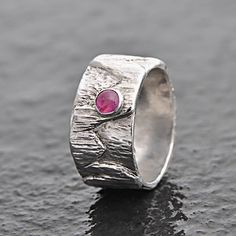 Sterling silver ring with pink Tourmaline gemstone