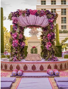 Traditional or contemporary, Indian weddings are never complete without the lavish use of flowers. Here are some ideas to beautify your wedding mandap decoration with flowers while keeping your budget, colour palette and style in check. Desi Wedding Decor, Wedding Hall Decorations, Wedding Reception Design, Wedding Entrance, Wedding Mandap, Sikh Wedding, Elopement Wedding, Wedding Receptions, Purple And Gold Wedding