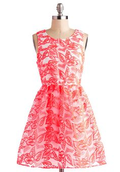 Your party style will be spot on when you wear this fit-and-flare frock to your next event! Bold, brilliant neon-orange embroidery adorns the sheer, organza overlay and adds a refreshing pop of color to the white lining below. Pair this piece with cobalt heels and a silver, glittery headband, and you'll brighten the day of every guest at the gala! Neon Point Dress, #ModCloth