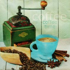 S806 - Servítky - káva, mlynček, škorica, badyán, vintage