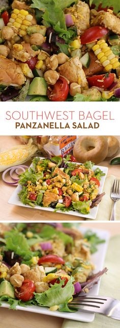 Southwest Bagel Panzanella Salad:  Ever made croutons with Thomas' Bagels? Get after it with this southwestern-style panzanella salad! Tossed with mixed greens, tomatoes, avocado, corn, chickpeas, cucumber and fresh jalapenos. It's another delicious way to get your Thomas' Bagel fix.