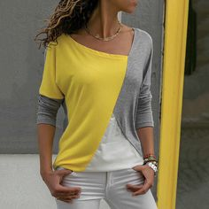 Tee Shirt Femme Graphic Tees Women Tshirt Tops 2018 Cotton T-Shirt Printed Long Sleeve Camisetas Mujer 02 yellow grey XXL Casual Tops For Women, Blouses For Women, Ladies Tops, Cheap Blouses, Shirt Blouses, Casual Shirts, Women's Casual, Long Sleeve Shirts, How To Wear