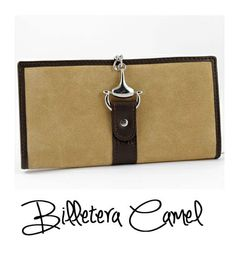 Billetera Camel  #Gifts. Practical and stylish wallet purse collection type CAMEL with metal closure. Exterior of suede. Band on the outside skin with brand logo engraving. Interior leather, double bill compartment and card compartments. Zipper closure. Dimensions: 18 x 10 cm ·