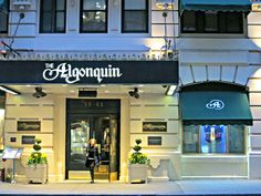 Algonquin Hotel, 59 West 44th Street, New York City. Site in the 1920s of the daily meetings of the Algonquin Round Table, a group of journalists, authors, critics, publicists and actors who gathered to exchange bon mots over lunch in the main dining room. The group included Franklin P. Adams, Robert Benchley, Heywood Broun, Marc Connelly, Jane Grant, Ruth Hale, George S. Kaufman, Dorothy Parker, Harold Ross, Robert E. Sherwood and Alexander Woollcott. April 5, 2013.