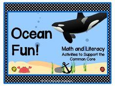Ocean Math, Literacy, and Science Fun! Kindergarten Common Core Aligned $