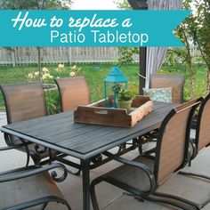Makeover an Outdoor table and refresh chairs - great idea to replace our tabletop after hedge apples shattered it!