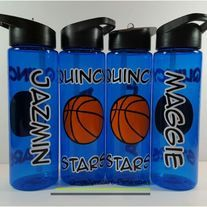 Personalized Basketball water from SimpleXpressions-Personalized! Sports Bottles, Personalized Basketball, Team Names, Drink Sleeves, Water Bottle, Number, School, Party, Image