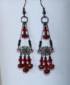 Earrings Chandeliercrystal earrings  red by alabelys on Etsy, $9.99