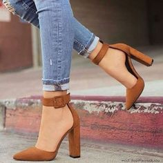 Brown Ankle Strap Heels Office Shoes Pointed Toe Chunky Heel Pumps for Work, Party, Date, Big day, G Cute Heels, Lace Up Heels, Ankle Strap Heels, Pumps Heels, Stiletto Heels, Flats, Shoes High Heels, Wrap Heels, Pointed Toe Heels
