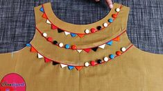 Designar boat neck, Boat neck with piping and buttons for kurti/suit/ kameez . Chudithar Neck Designs, Salwar Neck Designs, Neck Designs For Suits, Kurta Neck Design, Neckline Designs, Blouse Neck Designs, Simple Kurti Designs, Gala Design, Sleeves Designs For Dresses