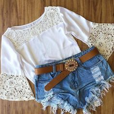 White Lace Bell Sleeve Tee
