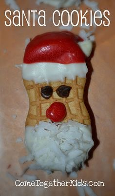 Nutter Butter Santa Cookies    No bake, can use milanos, vienna cookies or other oval shaped cookies.
