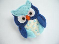 Owl felt brooch - blue white felt bird brooch -  owl with sequins and beads. $16.00, via Etsy.