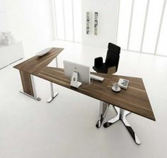 Furniture. Stylish And Modern Office Desk Designs. Minimalist Home Office Desk Modern Idea Come With Oak Chocolate L Shape Freestanding Computer Desk With Chrome Legs And Fabric Black Freestanding Comfortable Swivel Chair. Office Desk Modern