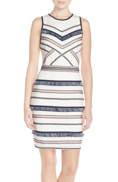Adelyn Rae Embroidered Fringe Jersey Sheath Dress available at #Nordstrom